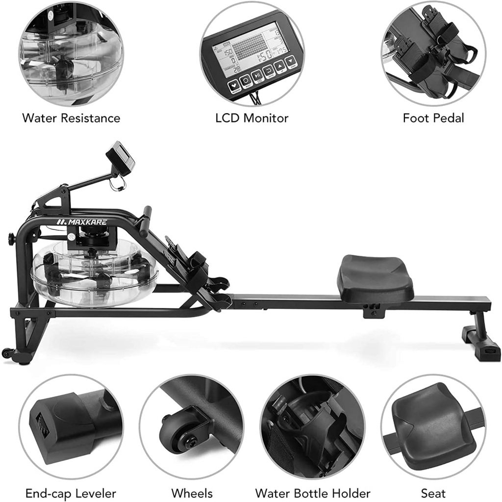 MaxKare Water Rowing Machine Water Rower with Water Resistance & Large LCD Display