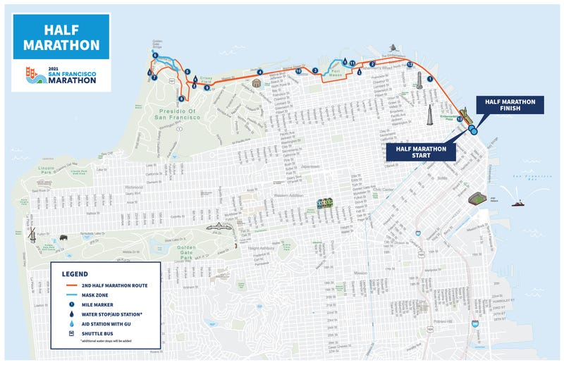 San Francisco half marathon map masks
